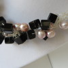 Pink Pearl and Black Cube Nedklace