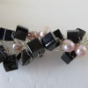 Pink Pearls and Black Cubes Necklace