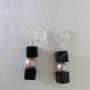 Pink Pearls and Black Cube Earrings