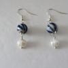Blue Stripe and Freshwater Pearls Earrings
