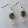 Jade and Pink Quartz Earrings