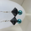 Turquoise and Charcoal Grey Earrings