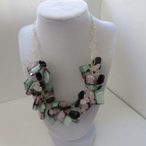 Pink, Green & White Necklace