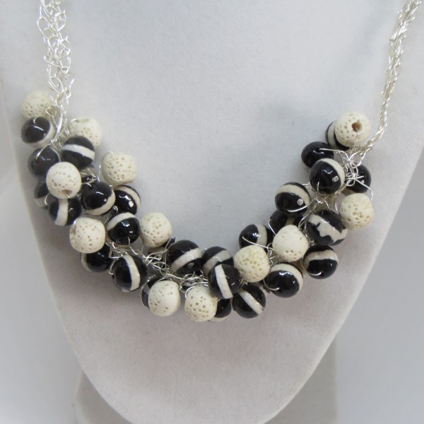 Black and ivory beads