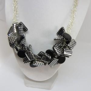 Midnight black, silver and black stripes.