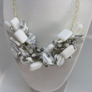 Silver and white necklace