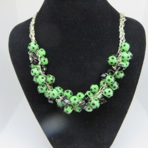 Kelly Green with Black Necklace