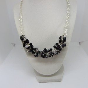 Rhinestones and Black Necklace
