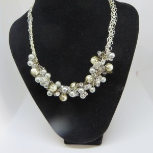Crystal, Taupe and Grey Necklace