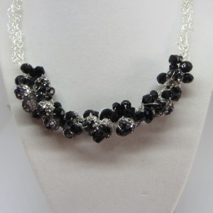 Clear and Black Rhinestones Necklace