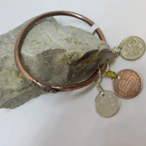 Copper Bangle Bracelet with Coins