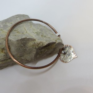 Copper Bangle with Sterling Silver Heart