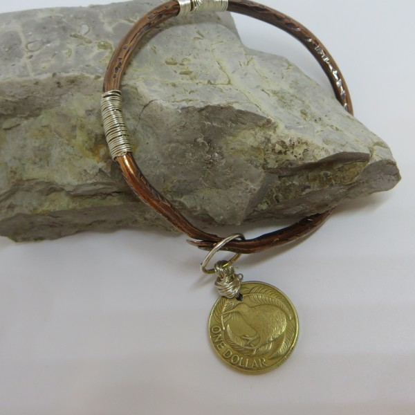 Copper Bangle with a New Zealand Coin